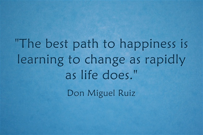 """The best path to happiness is learning to change as rapidly as life does."" Don Miguel Ruiz"