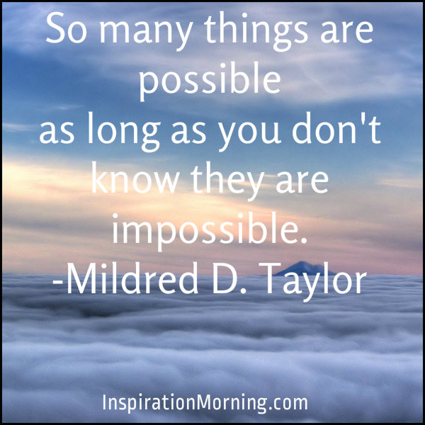 So many things are possible as long as you don't know that they are impossible. ~ Mildred D Taylor
